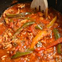 Crockpot Italian Chicken and Peppers {GF, Low Cal, Paleo}