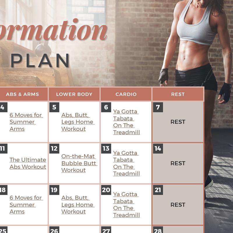 Body Transformation Workout Plan Calendar - workout calendar