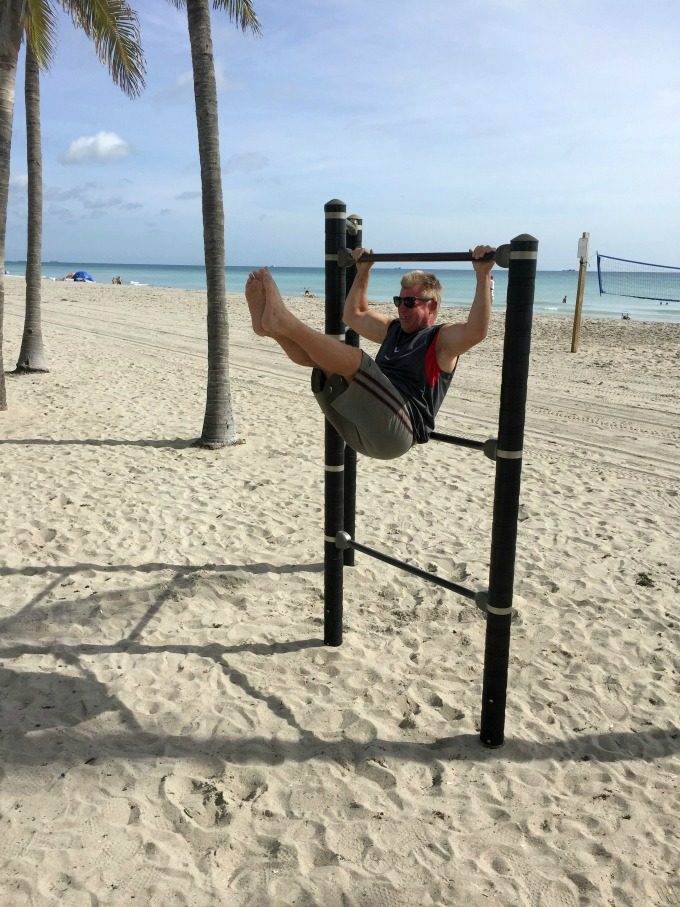 2Working out on beach