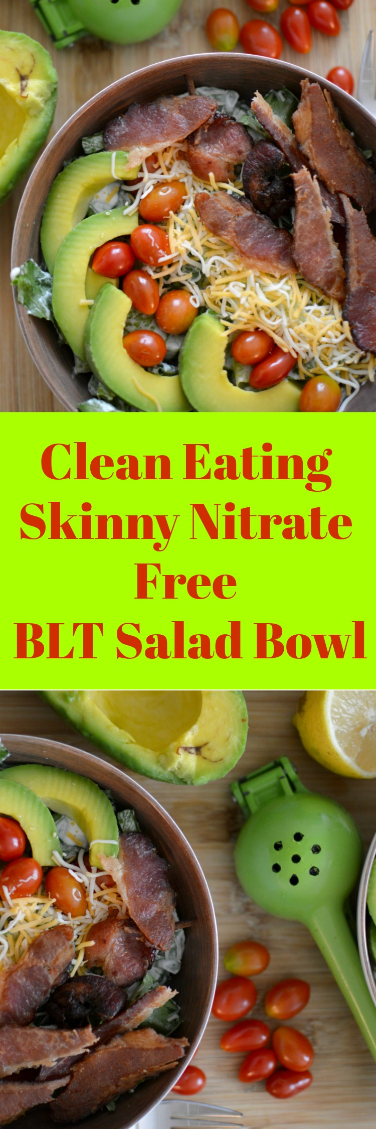 No carbs in this Clean eating BLT salad bowl. You will love this satisfying high protein low carb dish.
