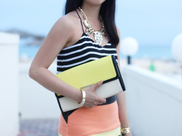 Yellow and Nude Colorblock Clutch