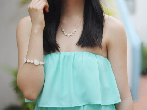 Sequin Gold Bangle & Delicate Necklace
