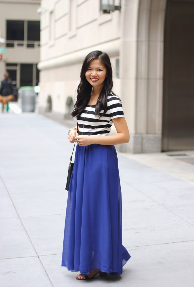 Striped Cropped Top & Cobalt Blue Maxi Skirt