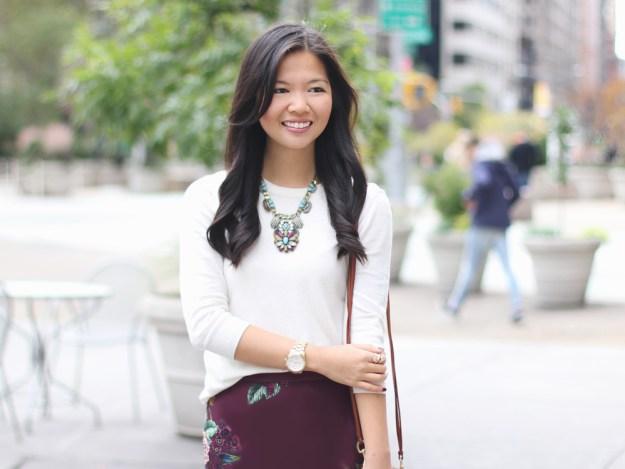 Cream Sweater & Burgundy Floral Skirt