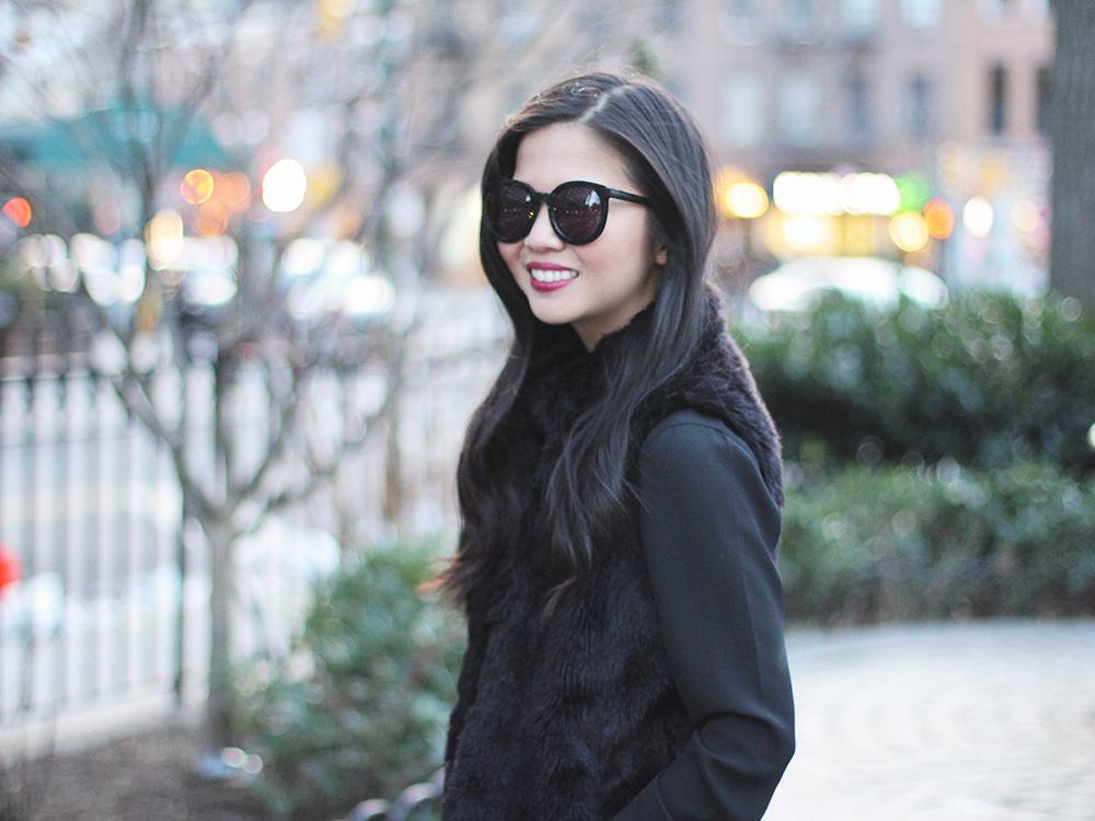 Skirt The Rules // Black Faux Fur Vest