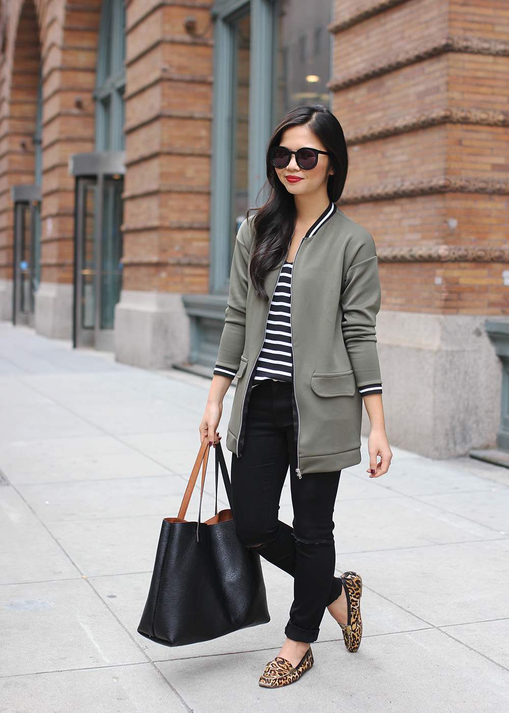 Olive Green Bomber Jacket - Skirt The Rules | Life &amp Style in NYC