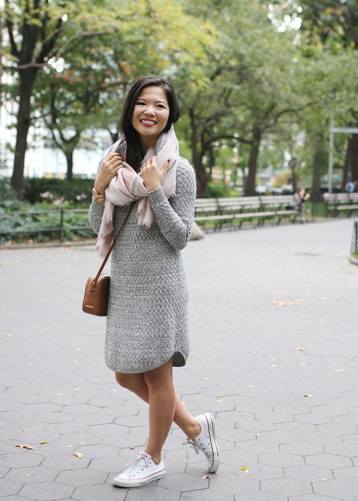 Skirt The Rules // Grey Sweater Dress & Blanket Scarf
