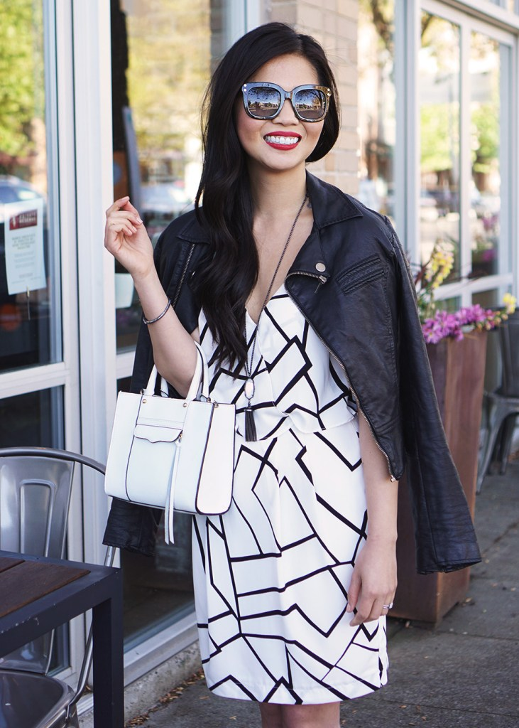 Skirt The Rules / Black & White Graphic Print Dress