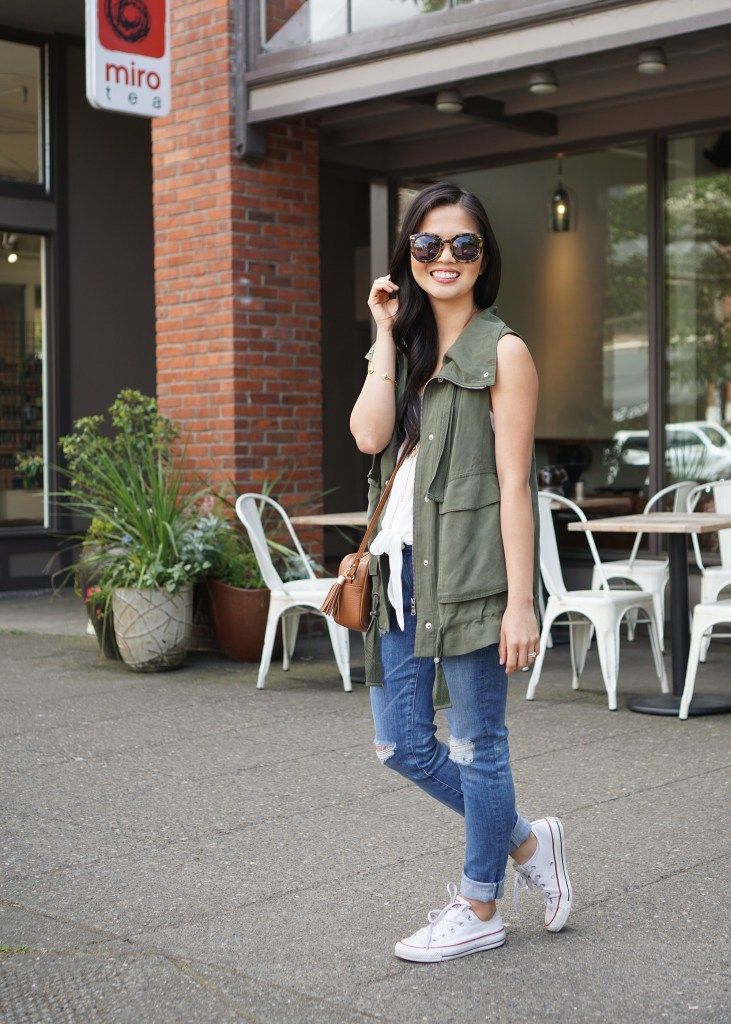 Skirt The Rules / Army Vest & Destroyed Skinny Jeans