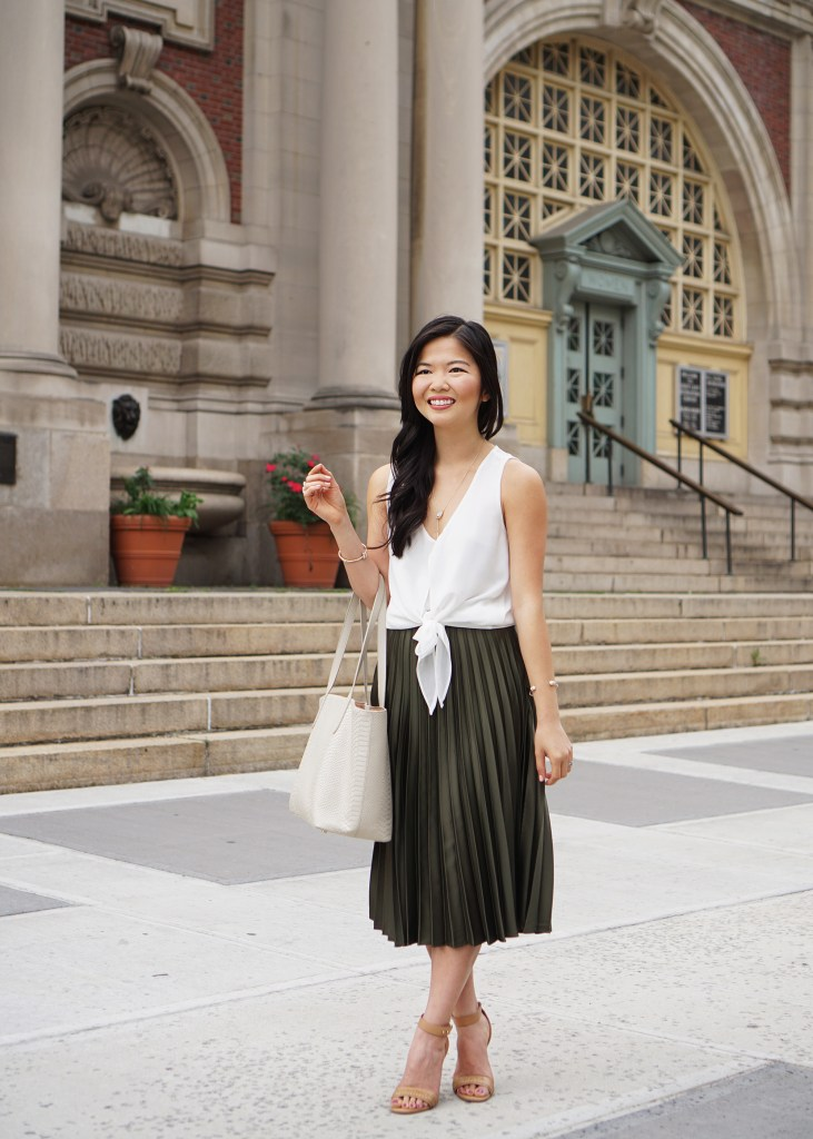 Tie Front Top & Pleated Midi Skirt