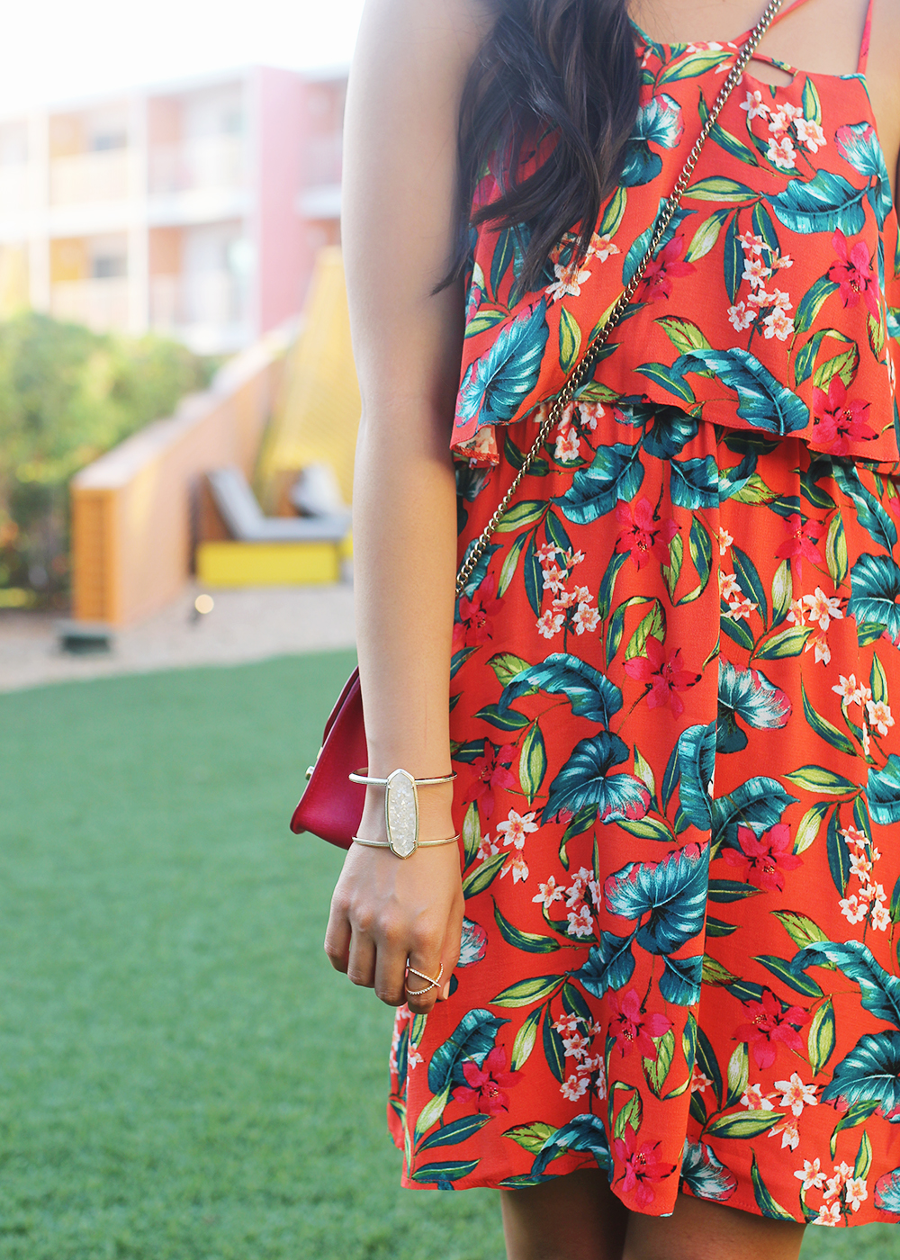 The Perfect Vacation Dress / Red Tropical Floral Print