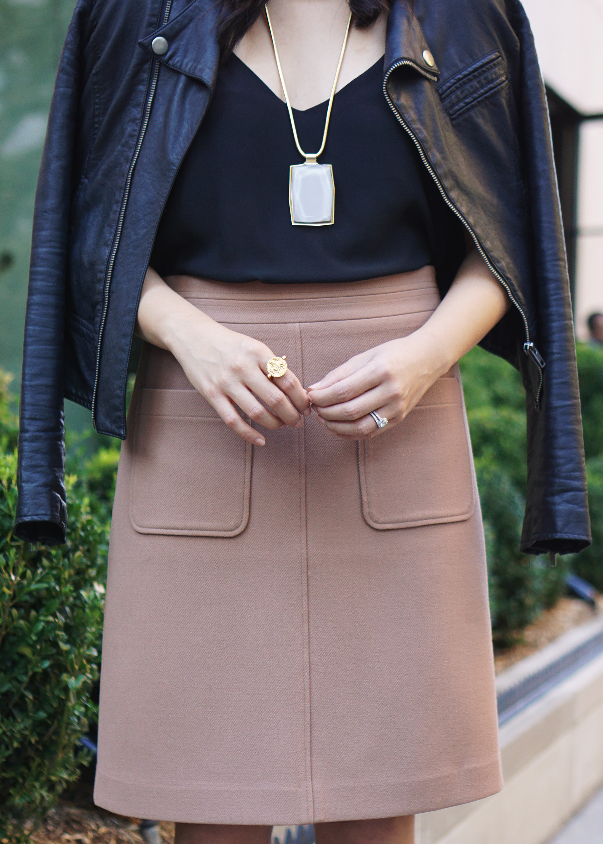 Skirt The Rules / Moto Jacket & Camel Skirt