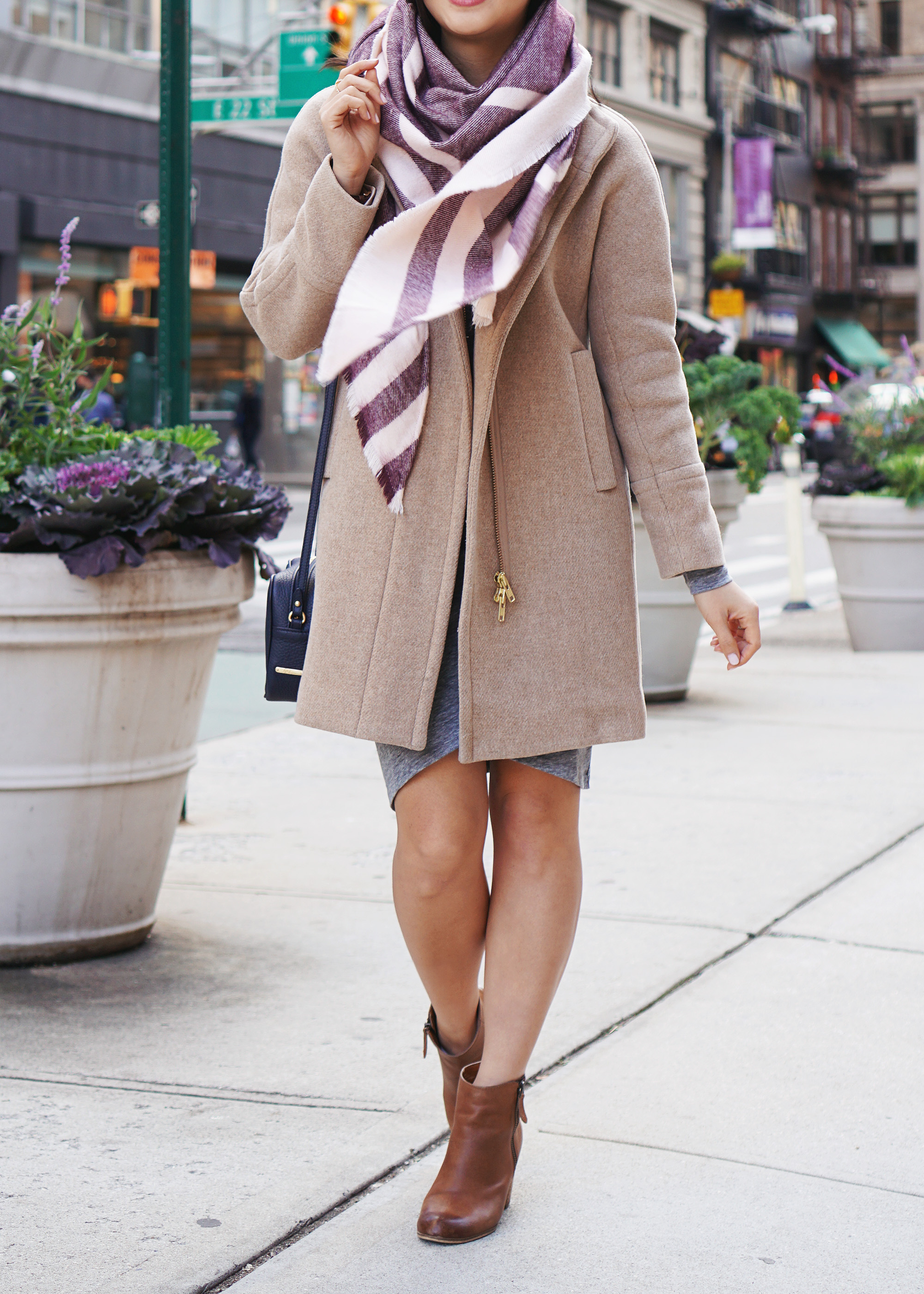 J.Crew Cocoon Coat & Striped Blanket Scarf