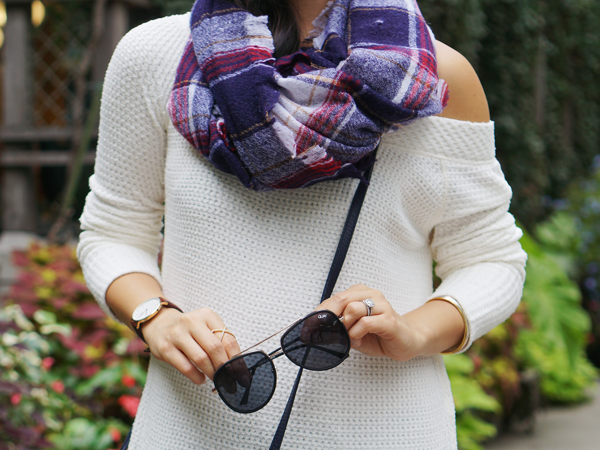 Skirt The Rules / Off the Shoulder Top & Plaid Scarf