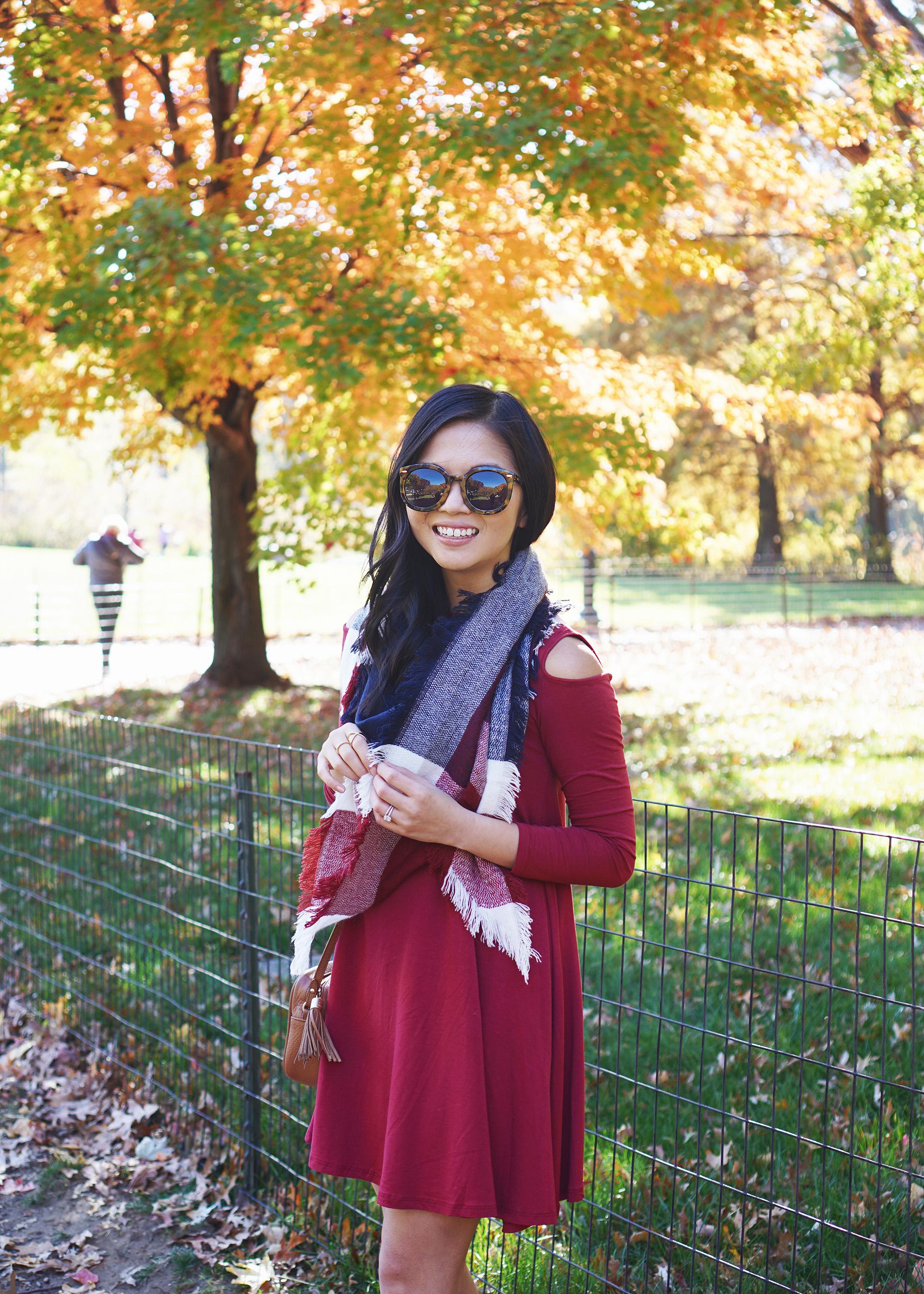 Fall Style: Cold Shoulder Dress & Blanket Scarf