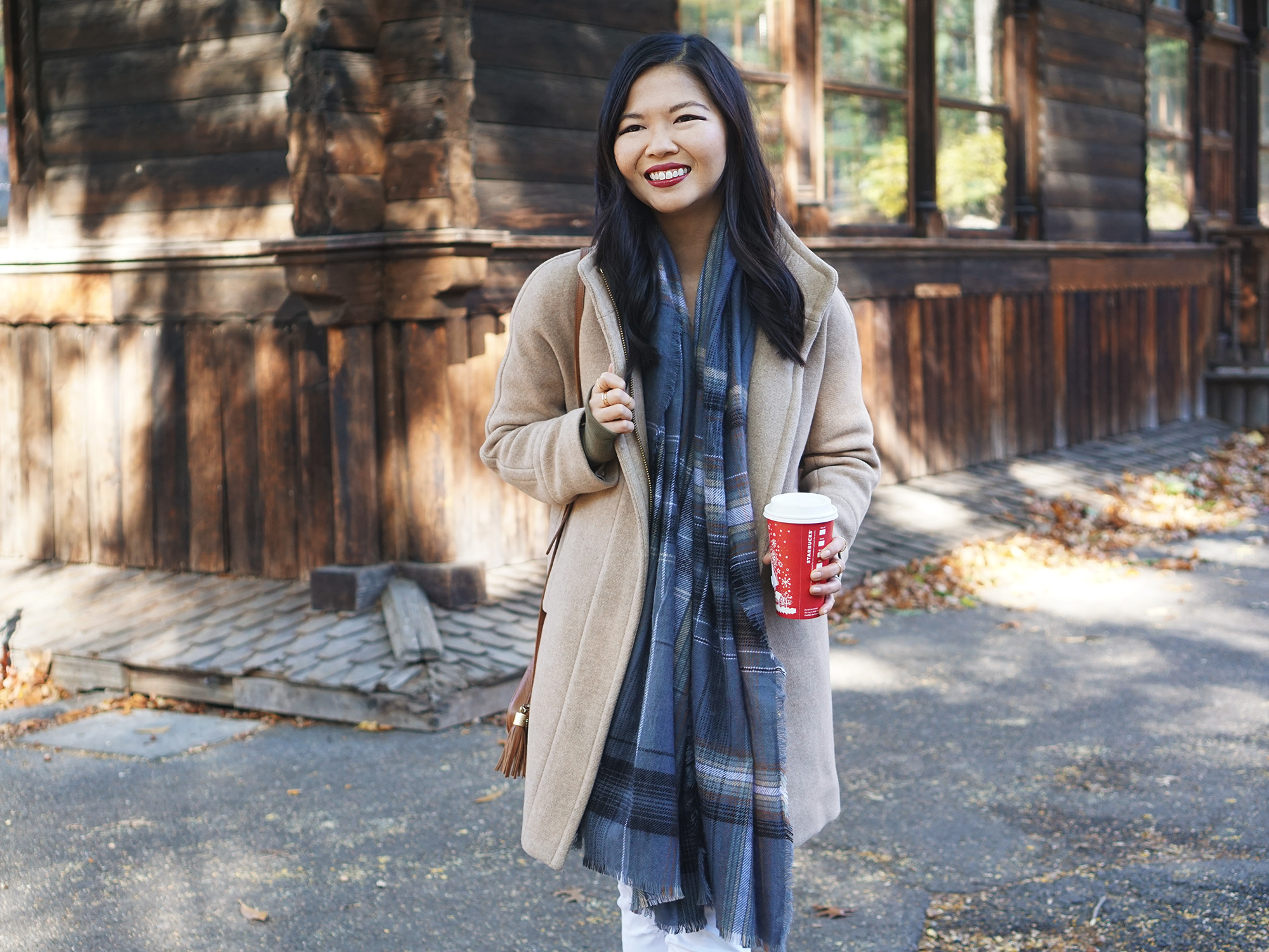 Casual Winter Outfit: Camel Coat & Plaid Scarf
