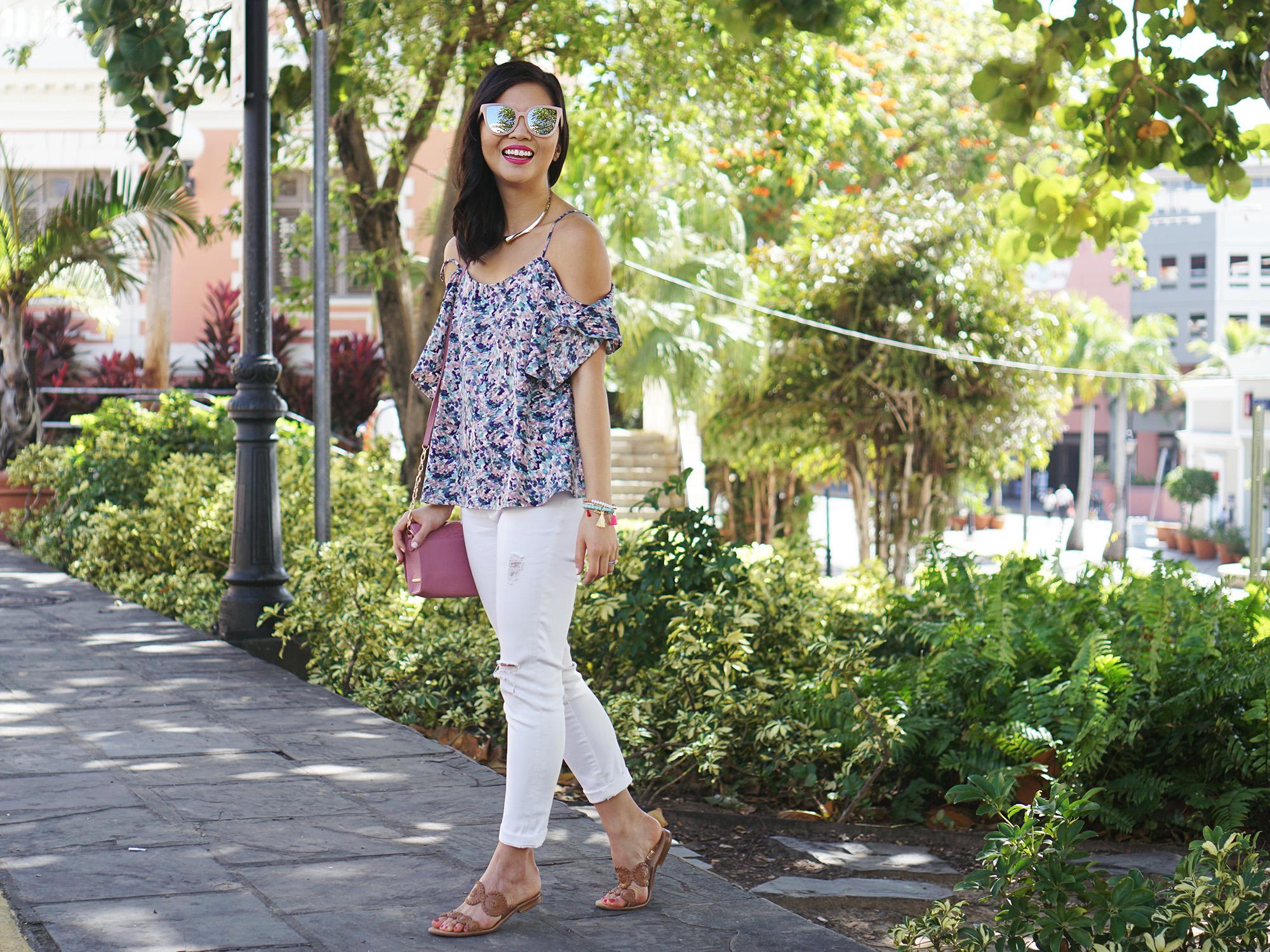Floral Cold Shoulder Top & Skinny Jeans