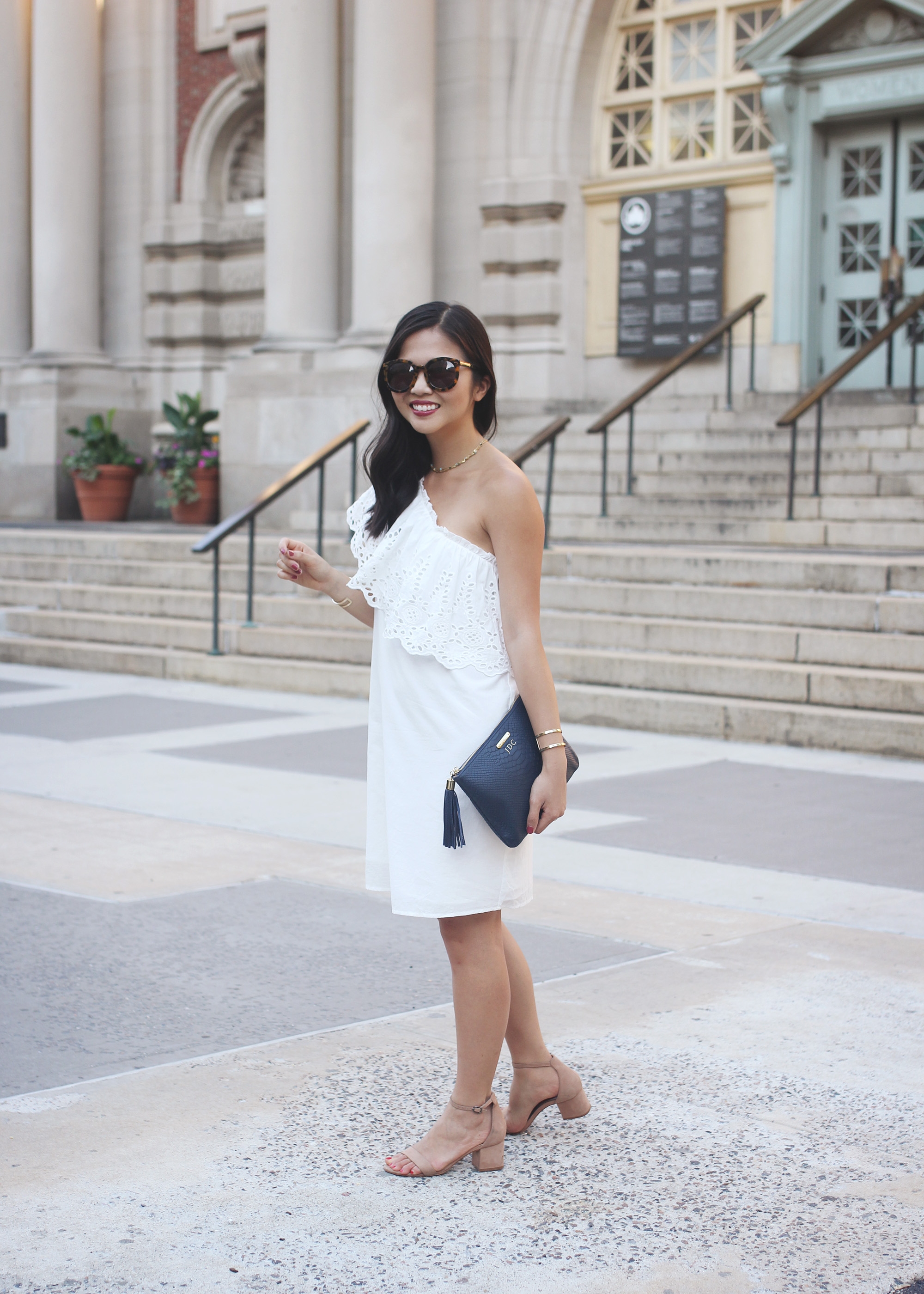 Summer Fashion / hite Eyelet One Shoulder Dress