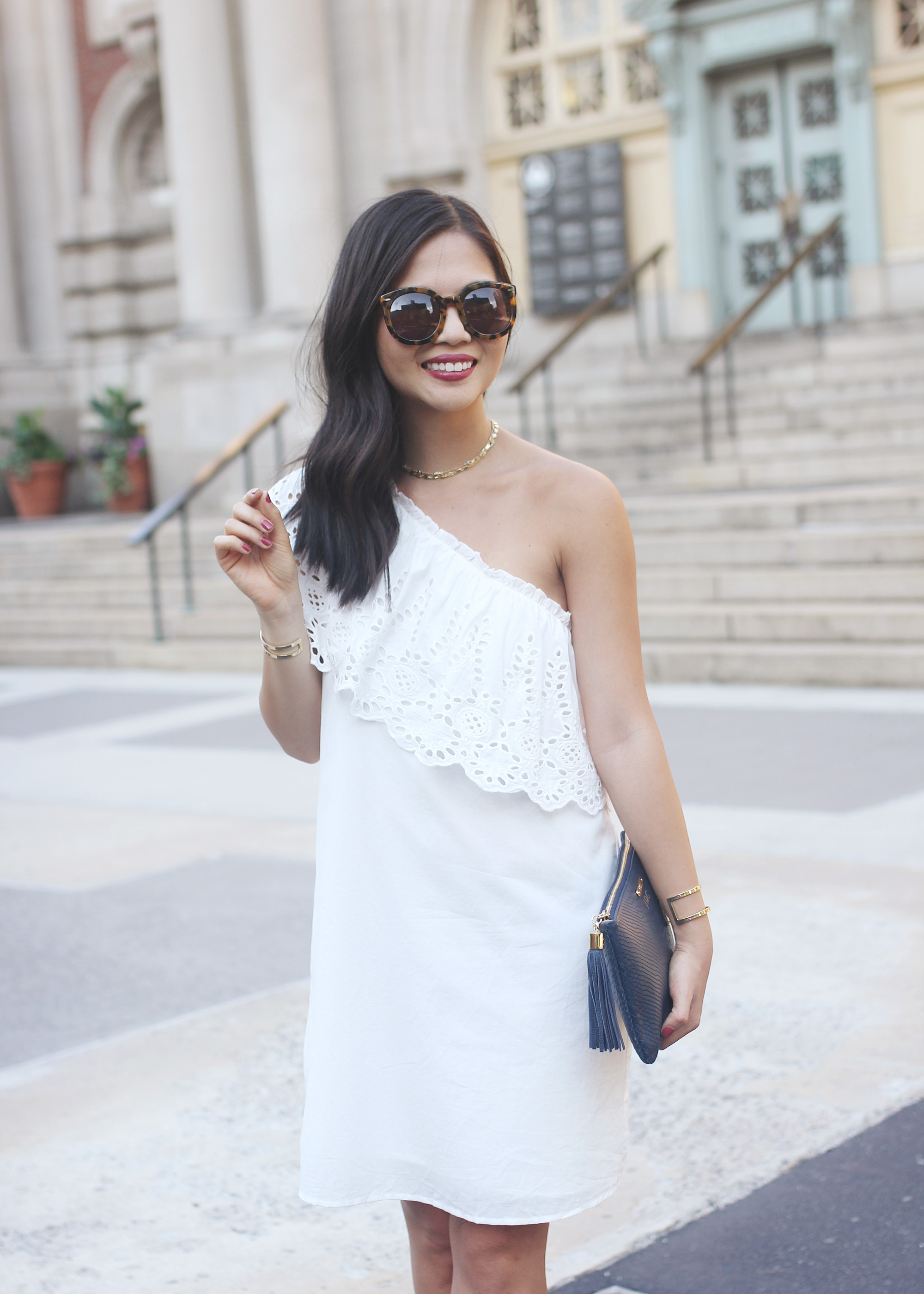 hite Eyelet One Shoulder Dress