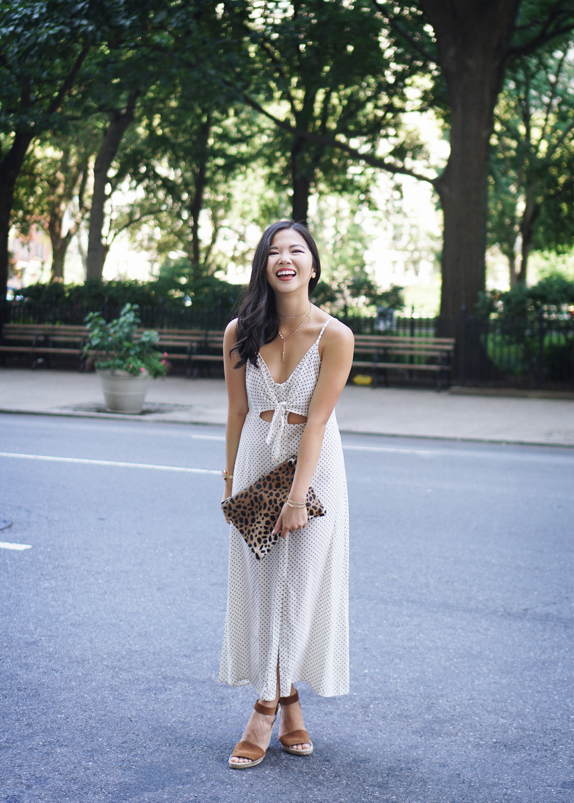 Summer Style Inspiration: Black & White Print Tie Front Slip Dress