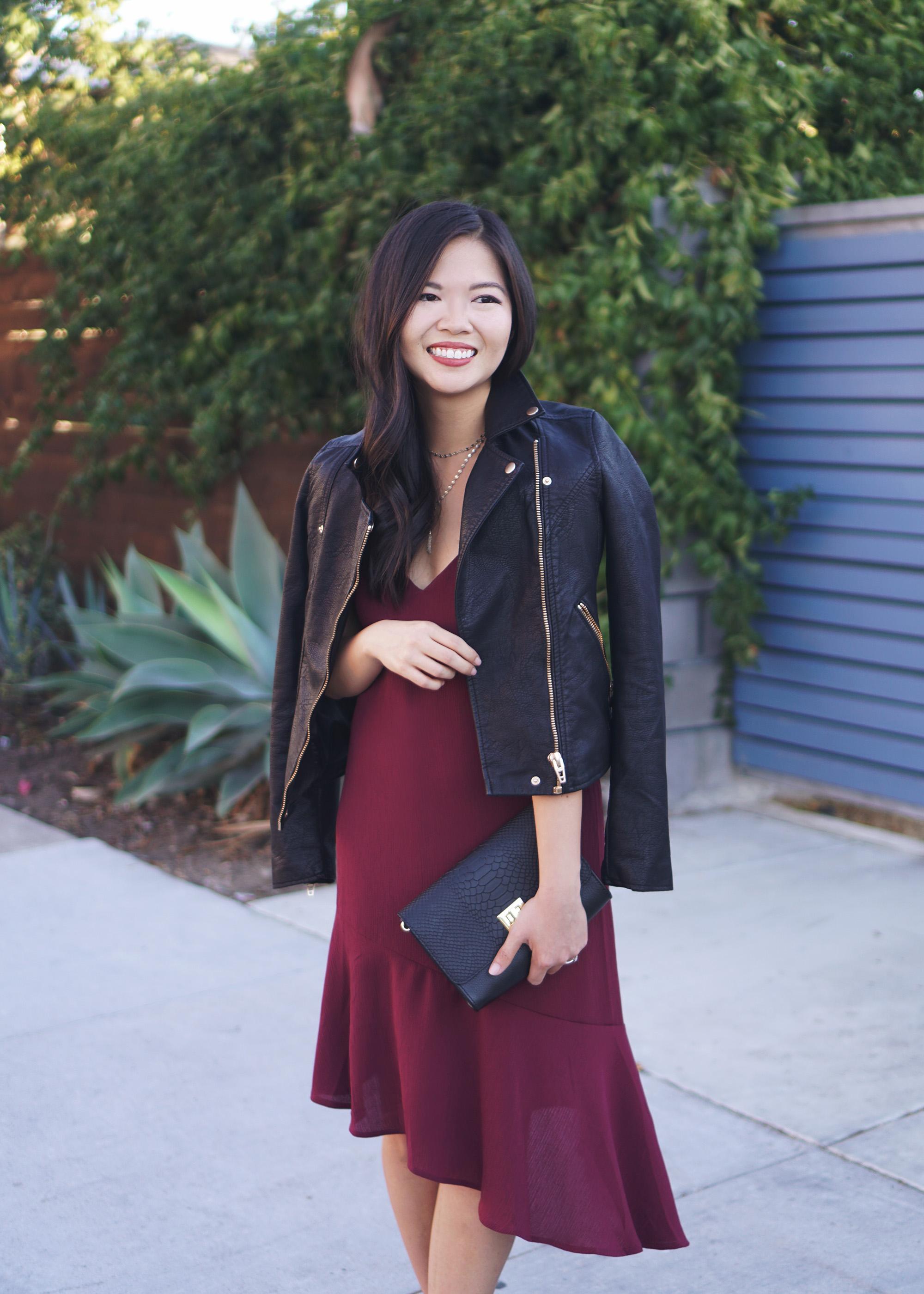 Fall Fashion: Leather Jacket & Burgundy Dress