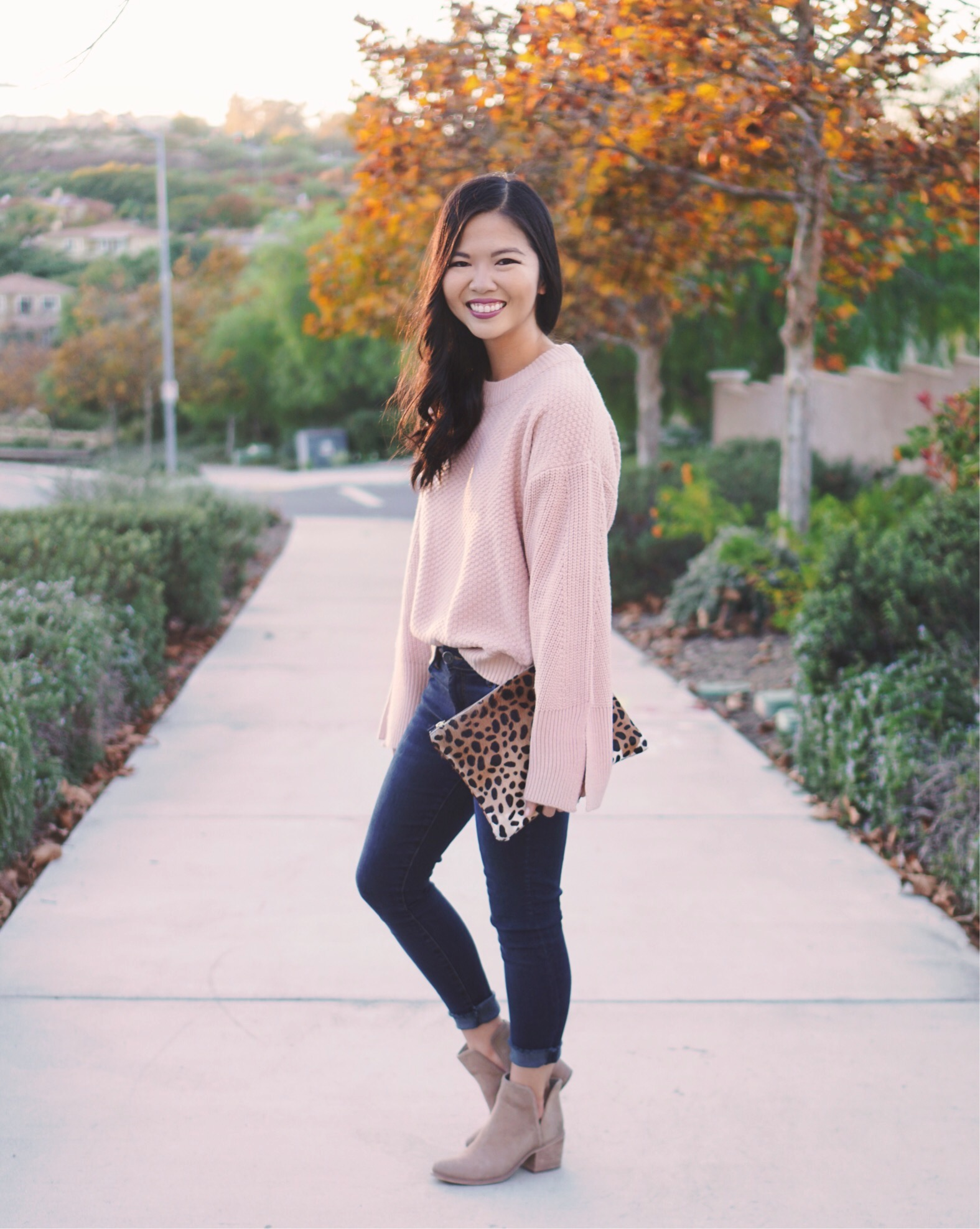 Pink Bellsleeve Sweater & Skinny Jeans