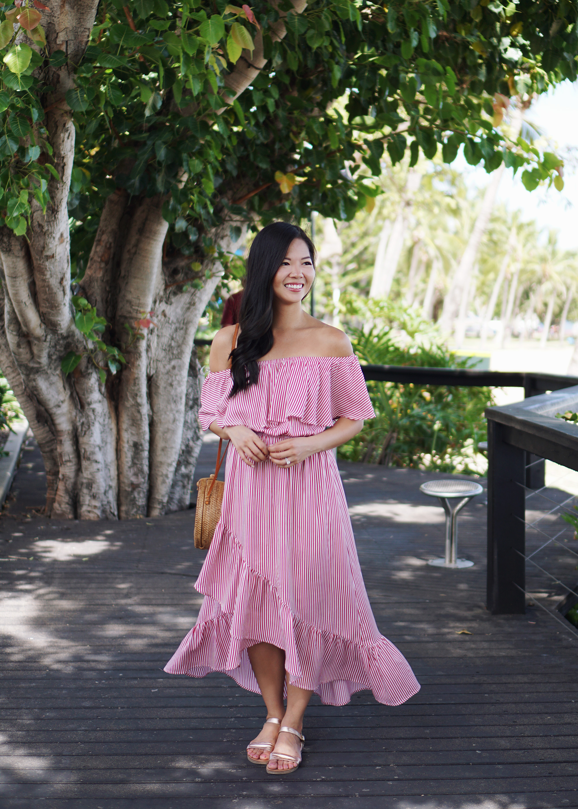 Summer Style / Striped Off the Shoulder Dress