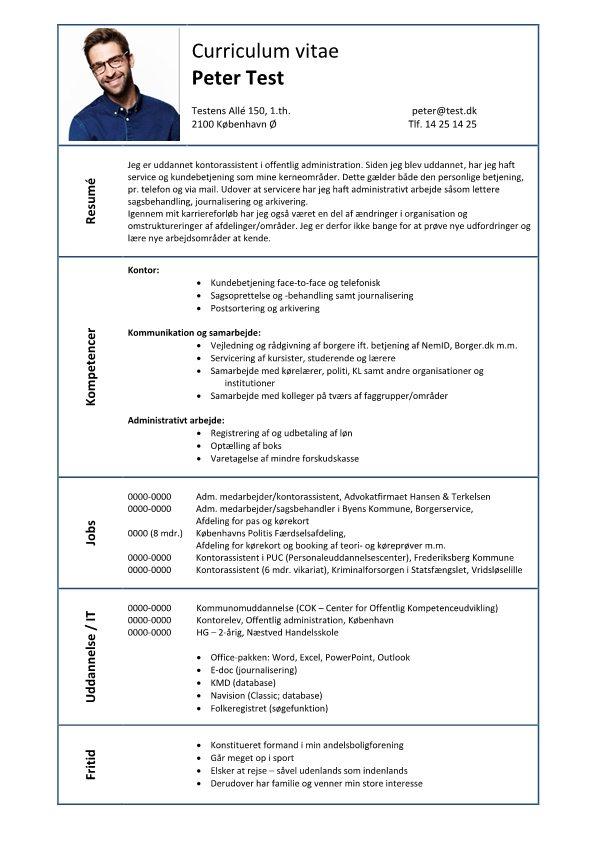 CV Kompetence Kommunikation Administration Kontor - Skrivansøgning - cv