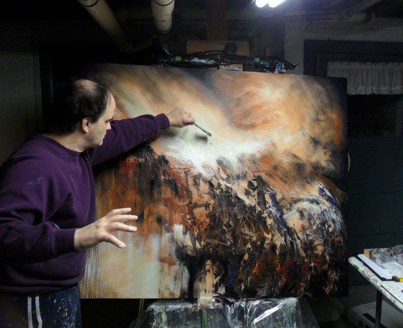 Artist Skye Taylor at work