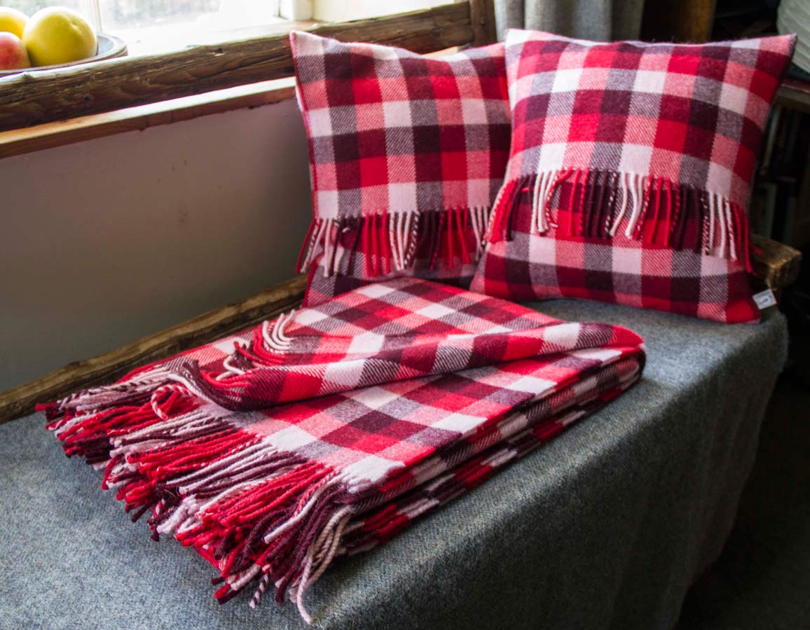 Loom Sofa Red Check Throw - Skye Weavers: Tweed, Scarves, Throws
