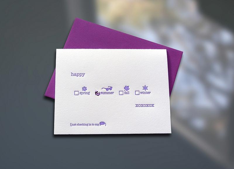 Happy Seasons w/ Gemstone Sticker Note Card - sky of blue cards - purple note cards