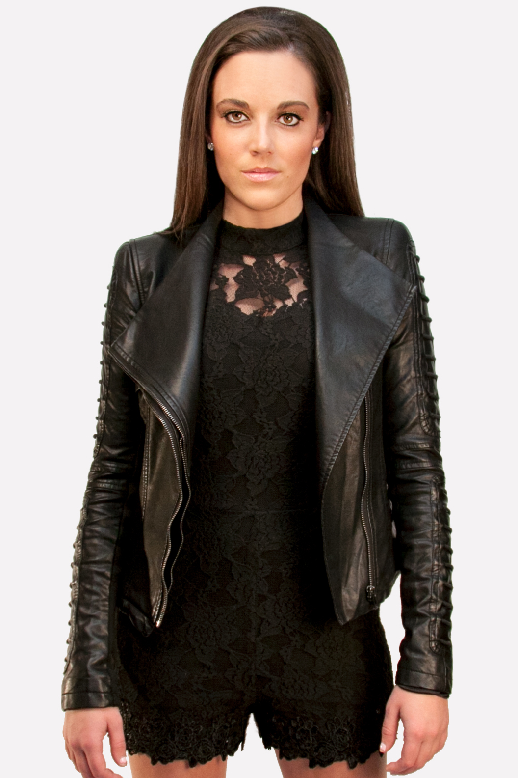 Gracia black leather jacket very trendy by gracia