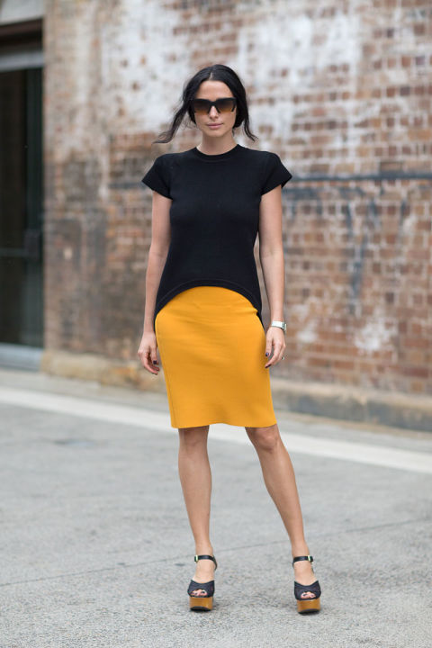bright orange knit skirt