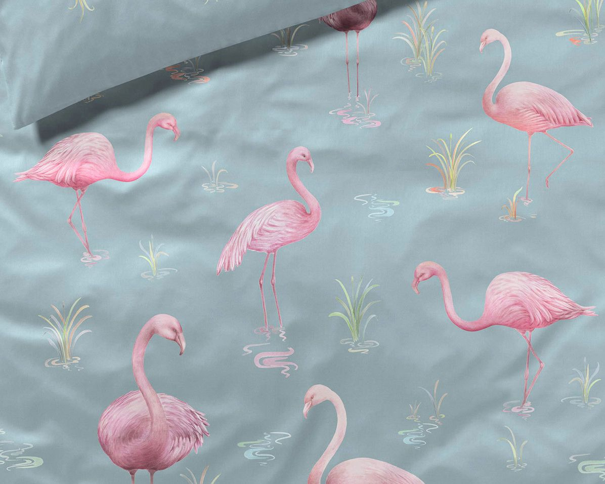 Flamingo Bettwäsche Elegante Seiden Satin Bettwäsche Flamingo 2232 02