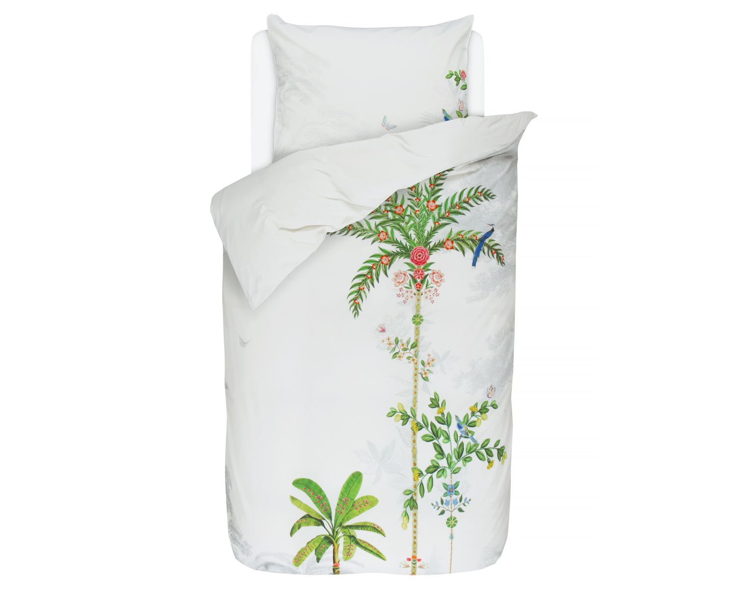 Pip Bettwäsche Pip Satin Bettwäsche Indian Palms White Slewo