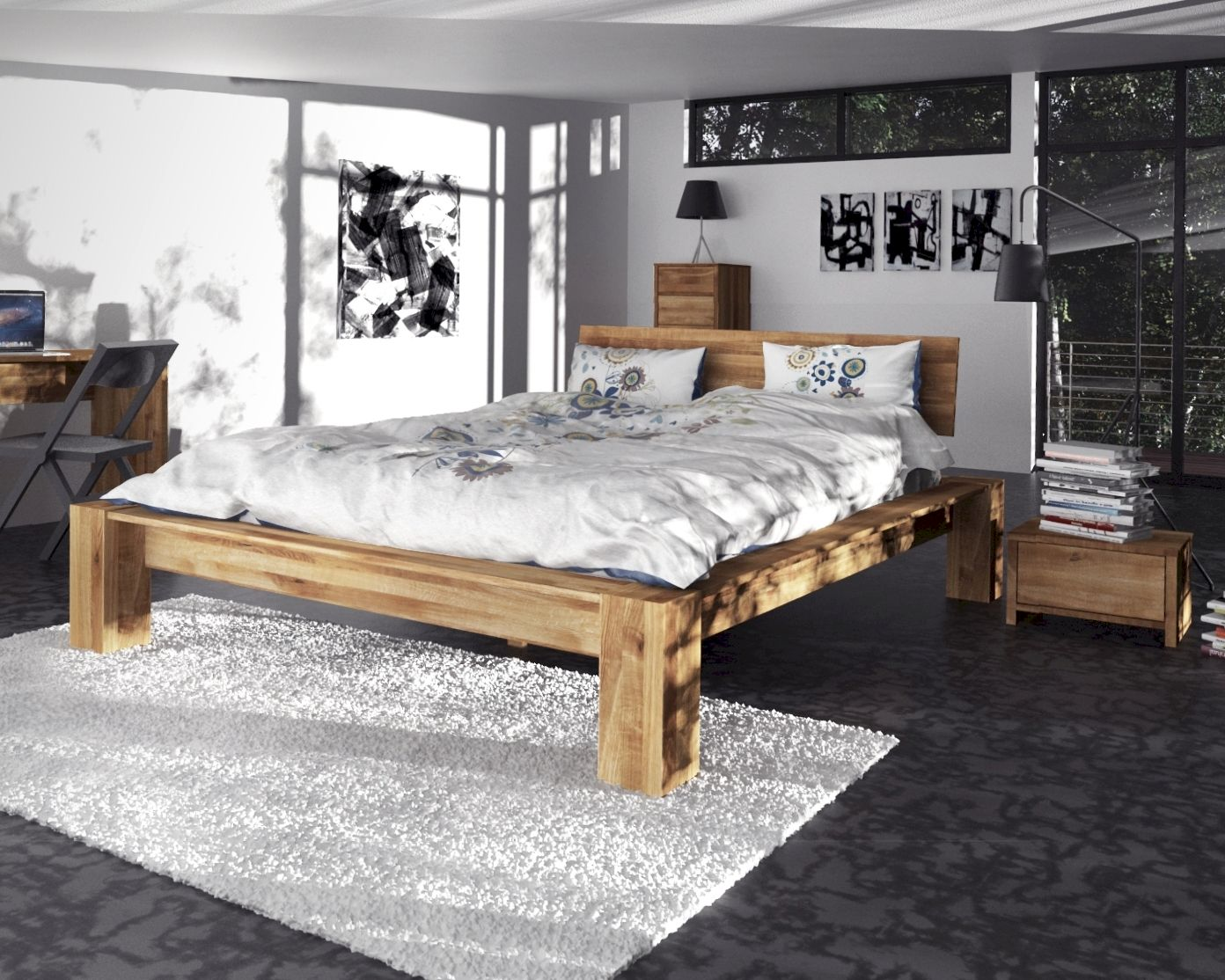 Schlafzimmer Set Naturholz The Beds James Massivholz Bett Hoch Kaufen Slewo