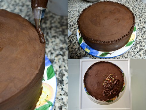 Frosting the cake and then decorating it with chocolate roses and sprinkles