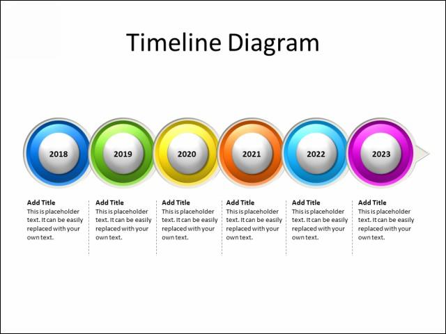 PPT Slide-Timeline Diagram - 6 Circles - Multicolor