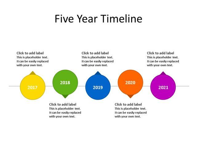 PPT Slide-Timeline Diagram - 5 Steps - Multicolor