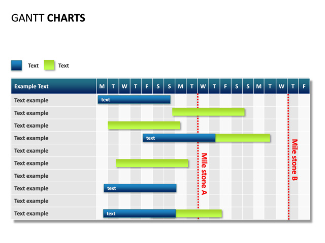 PowerPoint Slide - Gantt Chart - 19 days - 2 milestones - 10 rows