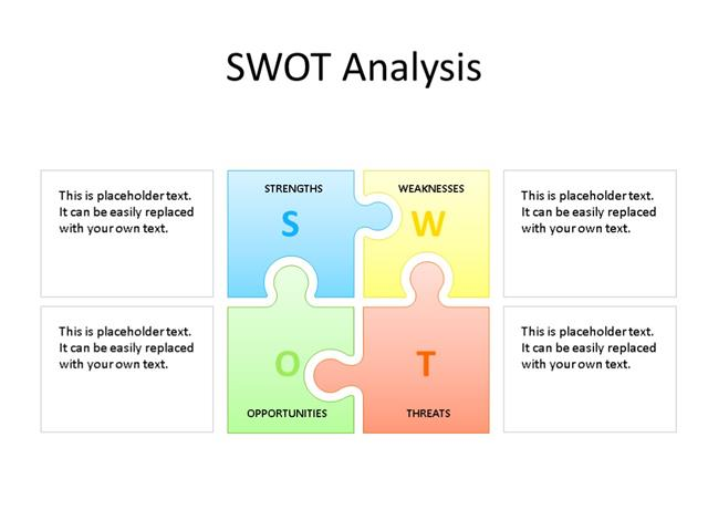 PPT Slide-SWOT Analysis - 4 Pieces - Multicolor