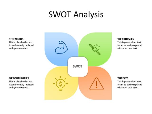 PPT Slide-SWOT Analysis - 4 Pieces - Multicolor