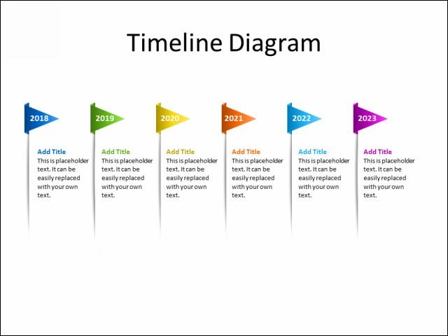 PPT Slide-Timeline Diagram - 6 Flags - Multicolor