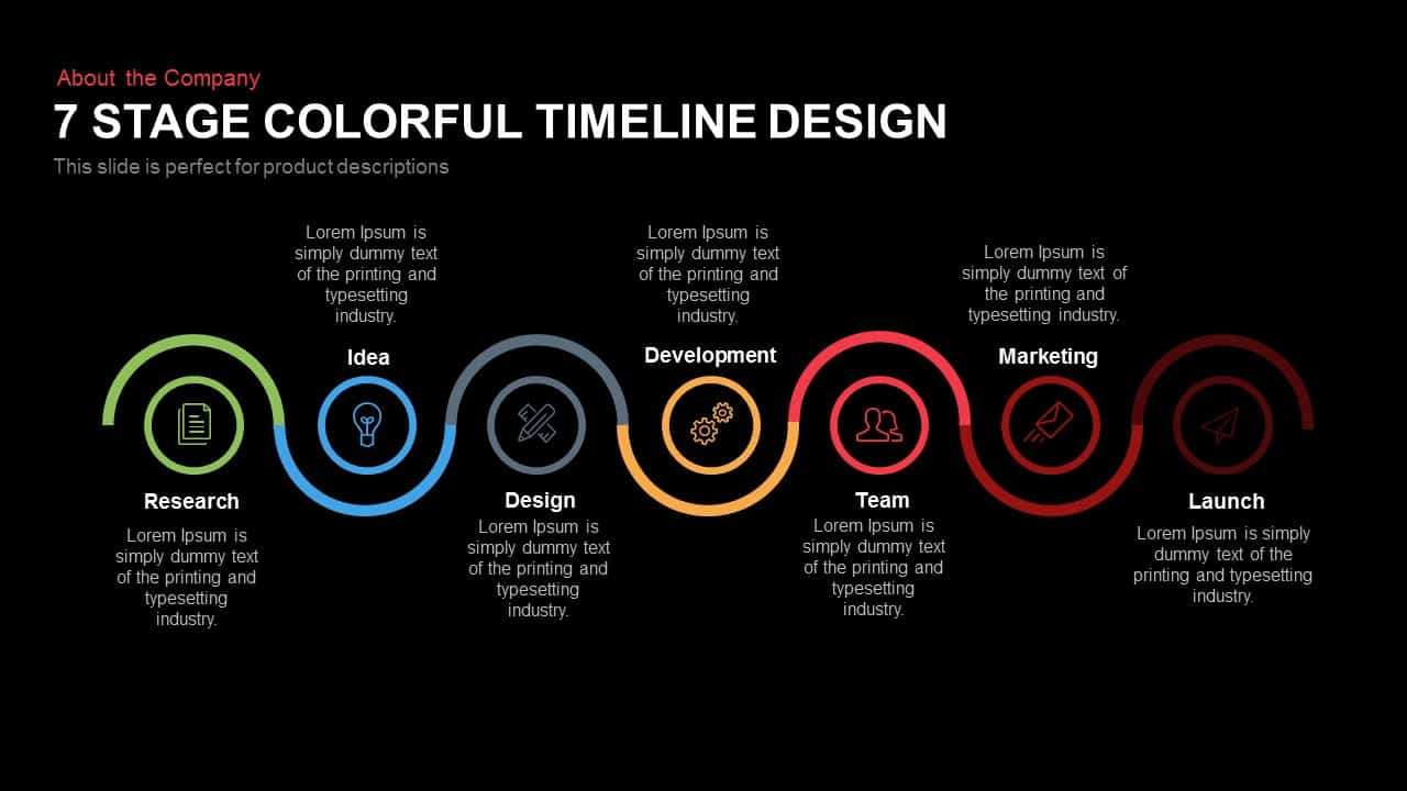 Timeline Design 7 Stage Colourful Timeline Design Template For Powerpoint Keynote