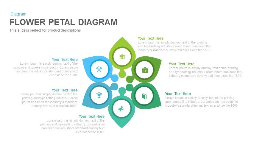 Flower Petal Diagram PowerPoint Template and Keynote Slide