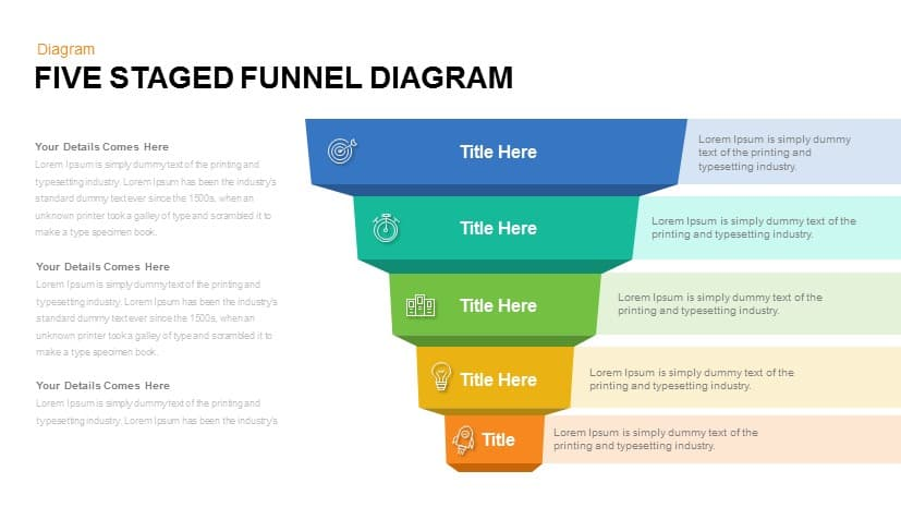 5 Staged Funnel Diagram PowerPoint Template and Keynote Slide