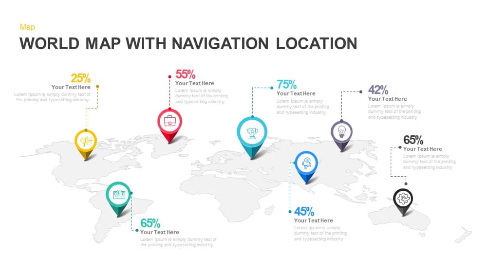 World Map with Navigation Location PowerPoint Template and Keynote