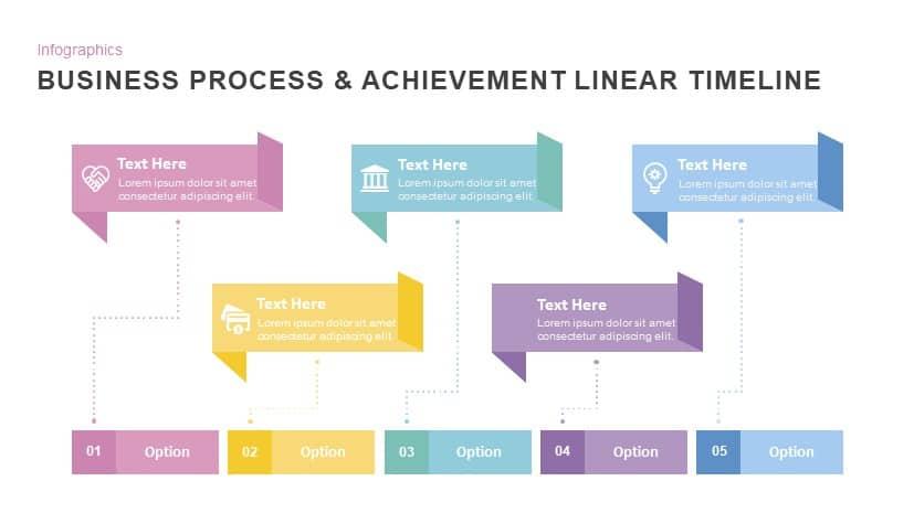 Business Process  Achievement Linear Timeline PowerPoint Template