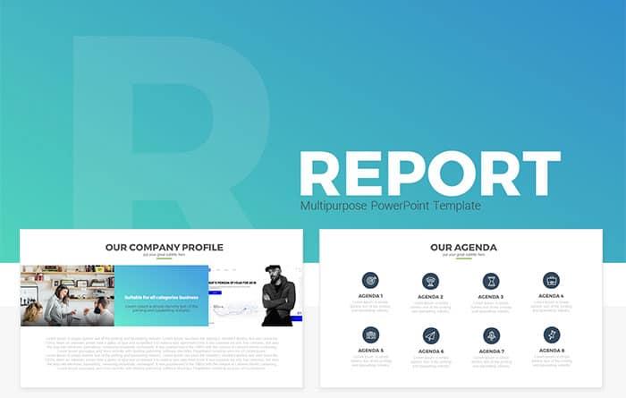 Report Multipurpose Free PowerPoint Template - SlideCompass