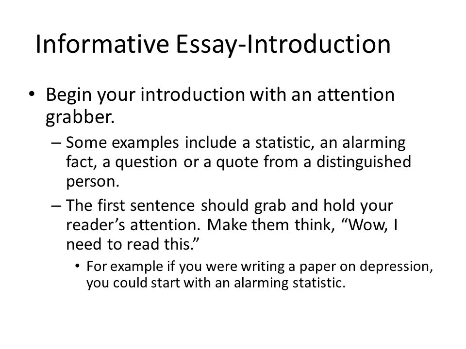essay attention grabbers informative essay an introduction ppt video - informative essay